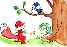 Hello There 8x10 Archival Print Fox and Bluebird by ohhellodear, $20.00
