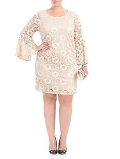 Laura Plus: for women size 14+. The bell sleeves on our lace shift dress add an extra chic touch to this style. Pair with high-heeled shoes and a simple clutch to complete the look. Pull-on style Slight stretch Imported 5030103-8774