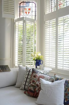 Interior Shutters in San Diego by Shuttermart - Over 50 Years of Service Wooden Window Shutters, Interior Shutters, Curtains With Blinds, Wood Blinds, Window Coverings, Window Treatments, Spring Home, Home Living Room, Home Interior Design