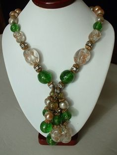 Vintage ITALIAN MURANO Gold Fleck CRYSTAL Emerald Green by tea500, $225.00