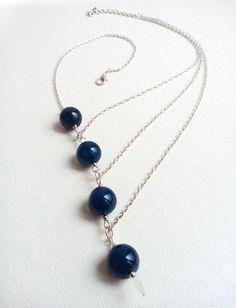 Necklace Séraphine Blue agate gemstones Asymmetrical necklace