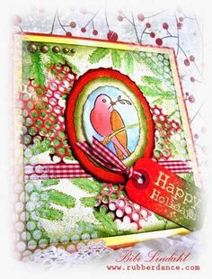 Card by Bibi, using one of the birds from our set A little birdie told me, and the fir twig from Pines Fir Yew.