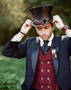 Are you a Victorian gear head by chance and looking to plan the ultimate Steampunk wedding? Regal Steam punk wedding theme and ideas. Moda Steampunk, Design Steampunk, Style Steampunk, Steampunk Wedding, Victorian Steampunk, Victorian Men, Victorian Dresses, Steampunk Cosplay, Steampunk Outfits