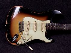 RebelRelic 61 S-Series SB Heavy BLK overspray-RebelRelic Vintage Style Relic Guitars