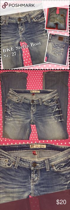 """BKE Stella Boot Jeans 27 x 33 1/2"""" Brand: BKE Stella boot cut  style: Stella  Distressed  Tag size reads Sz 27 by 33 1/2"""" 98% cotton 1% spandex They are gently used in good condition very light fray on the hem not very visible  ⚡️⚡️I will how ever gladly bundle BKE Jeans Boot Cut"""