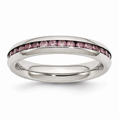 Jewelry & Watches Stainless Steel 4 Mm Birthstone June Pink Cz Wedding Band Ring Fast Color Bridal & Wedding Party Jewelry