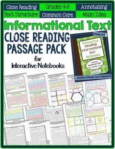 Close Reading Informational Text Passages for Interactive NotebooksThis passage pack is full of text-marking lessons for active nonfiction reading. They focus on teaching and practicing identifying nonfiction text structure as well as identifying main ideas, transitions, and supporting details in paragraph and multi-paragraph passages.