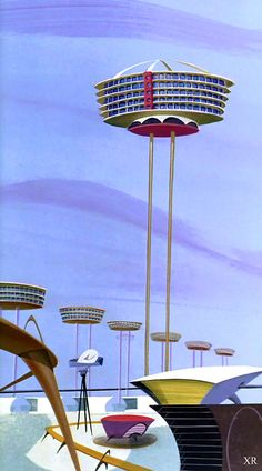 'The Jetsons' - Skypad Apartments 1962 . 'The Jetsons' - Skypad Apartment The Jetsons, Atomic Age, Science Fiction Art, Googie, Space Age, Retro Art, Modern Retro, Sci Fi Art, Mid Century Design