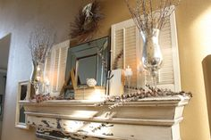 "A Winter Mantel - Hmmmm... perhaps a little too ""shabby chic"" for my house but there might be some ideas here."