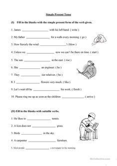 Printable Exercises On Simple Present Tense – Letter Worksheets English Grammar Tenses, English Grammar Worksheets, Grammar Lessons, Grammar Quiz, Grammar Book, Nouns Worksheet, 2nd Grade Worksheets, Letter Worksheets, Printable Worksheets