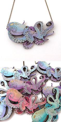 Handpainted Lasercut Octopus Layered Necklace