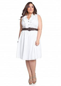 12bc4be2cce Ashley Stewart  Ruffle Front Belted Shirtdress