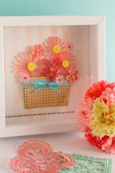 Quilled flower with a cute basket