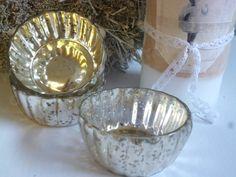 CHIC ANTIQUE, 3 x Teelichthalter, Bauernsilber, Silberglas, Antik-Finish, Shabby
