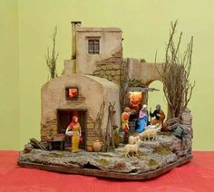 Manger and inn Christmas Nativity Scene, Christmas Villages, Christmas Holidays, Christmas Decorations, Xmas, Small Crib, Nativity Stable, Architectural Sculpture, Ceramic Houses