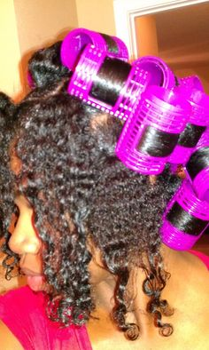 Natural hair roller set (ponytail method)- washed wet hair; section into three: ear to ear front, crown & back. make tight 2x2 inch pony tails w/ small rubber bands. For each use foam mousse, detangle wide tooth & smooth narrow tooth comb, divide hair in two and install 2 rollers. apply hair net to secure rollers, hooded dryer 1-2 hours or air dry. remove rollers, hair scissors to cut rubber bands, optional electric pressing comb for roots.