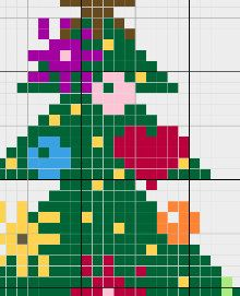 Coloured Joyfull Christmas Tree Cross by CamisTheCrossStitch