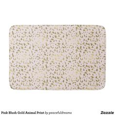 Pink Blush Gold Animal Print Bathroom Mat
