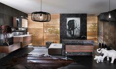 orange and brown exotic INteriors | Cuarto de baño de estilo exótico