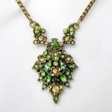SOLD! Vintage Hollycraft Peridot Colored Rhinestone Necklace – 1950