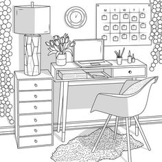 House Colouring Pages, Coloring Book Art, Cute Coloring Pages, Adult Coloring Pages, Interior Architecture Drawing, Interior Sketch, Interior Design, Coloring Pages Inspirational, Printable Coloring Sheets