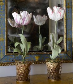 Tole & porcelain Tulips - All objects are handmade. Flowers are made of porcelain. Tole leaves and stems are made of painted copper. – Vladimir Kanevsky, Fine Porcelain