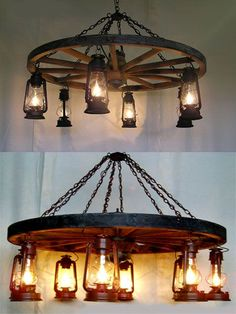 Wheel-n-Lantern Chandelier - Western Decor - Can find these types of lanterns in IKEA. Love this for my craft room.