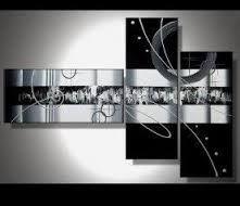 Toiles peintures tryptique abstrait fushia gris recherche google formes - Toile triptyque design ...