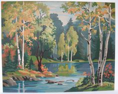 Vintage Paint By Number Oil Painting Autumn Scene Fall Birch Trees and Lake Landscape MicheleACaron