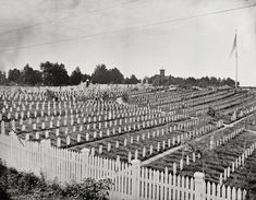 Circa 1865. Alexandria, Virginia, Soldiers Cemetery. When the Civil War ended for these men: In 1861, 62, 63, 64 and 65. Wet plate negative.