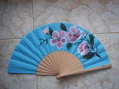 azul  #art #pintadoamano #abanicos #valian #valianart