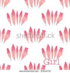 Seamless pattern Feathers flamingo . Hand drawing. Vector Illustration isolated on white background. The concept of modern design for girls. https://www.shutterstock.com/g/ORLOVA+YULIA?rid=3577073&utm_medium=email&utm_source=ctrbreferral-link