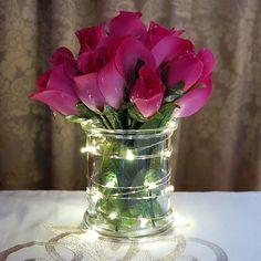 Vase With Lights, Led String Lights, Light String, Twinkle Lights, Lighted Centerpieces, Wedding Centerpieces, Cheap Centerpiece Ideas, Floating Flower Centerpieces, Quince Centerpieces
