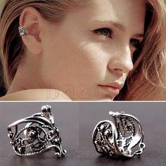 One Silver Hollow Out U Style Cuff Wrap Ear Clip Bones Clamp Earring Men MA