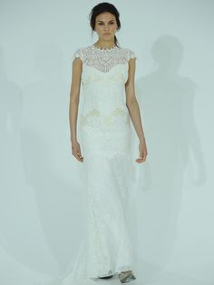 Claire Pettibone high necked cap sleeve champagne and ivory lace wedding dress from Spring 2016