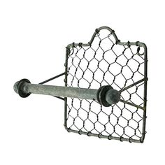 Description Add some country chic to your bathroom with this rustic chicken wire toilet paper holder! The holder mounts easily to the wall and measures hig Farmhouse Style Furniture, French Farmhouse Decor, Farmhouse Style Decorating, Industrial Farmhouse, Rustic Farmhouse, Farmhouse Design, Farmhouse Toilet Paper Holders, Toliet Paper Holder, Vintage Furniture Design