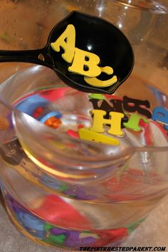 """""""ABC Soup"""" Water Play - sensory and letter recognition or a fun way to form sight words. kids play and learning"""