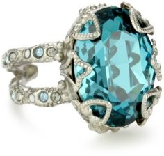 """The Sorrelli """"Salt Water"""" Heirloom Oval-Cut Crystal Adjustable Ring offers a beautiful blue glow accompanied by vintage classic style. Love!"""