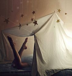 a simple bedsheet to make a bed tent. I know I'd have thought it was cool as a kid, why not for my kiddos?