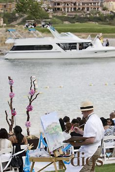 Live wedding painter with Bride's yacht arrival; Green Orchid Events; Digs Studio