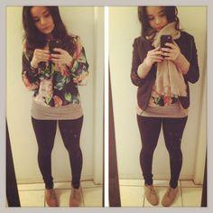 02/22/13 Floral sheer top/ Beige cardigan/ Blazer/ black leggings/ Beige flat boots #ootd