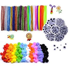 700 Pcs Craft Supplies Set-200 Pcs Chenille Stems Set 200 Pcs Pom Poms Craft 300 Pcs Wiggle Googly Eyes Self Adhesive Assorted Sizes for DIY Art Craft Bright Silver Pipe Cleaners