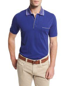 Regatta Short-Sleeve Pique Polo Shirt, Blue Navy - Loro Piana