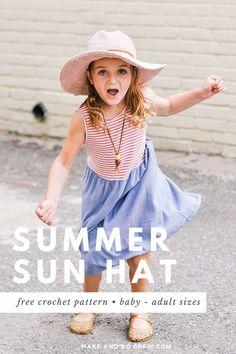 Crochet your own wide-brimmed fedora with this free crochet sun hat pattern! With baby, toddler, child, tween and women's and men's sizes, you can create a comfortable, packable sun hat for everyone in your family. You'll love the stiff brim that's made WITHOUT starch! Free pattern   video tutorial featuring Lion Brand Rewind yarn. #makeanddocrew #crochetsunhat #crochetfedora