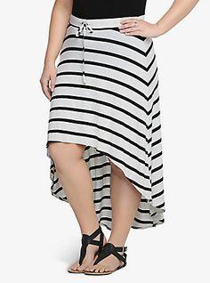 Striped Hi-Lo Maxi Skirt, OATMEAL HEATHER-BLACK STRIPE