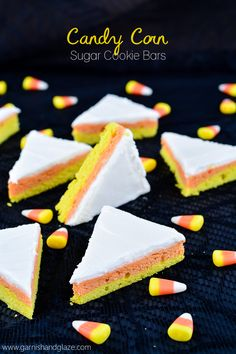 Soft Candy Corn Sugar Cookie Bars are the perfect treat for Halloween!