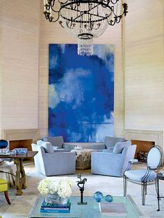 Blues are really nice #livingroom  interior design, sofas, flooring, ceiling, lighting, rugs, coffee tables, art in the living room #decorating loft wallpaper