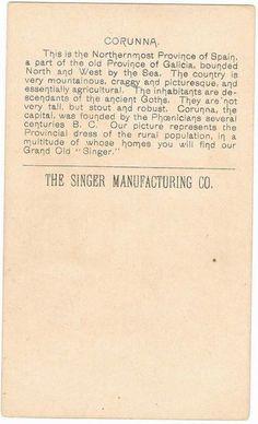 Singer Sewing Machine's World, 1892, Spain Corunna Trade Card