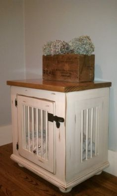 You could do this so cheap by refurbishing a used cabinet! No more ugly dog kennel! Might need to do this.