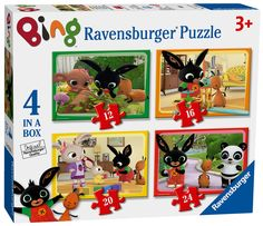 Shop for Ravensburger Bing Bunny 4 In A Box Jigsaw Puzzles. Compare live & historic toys and game prices. Toys Uk, All Toys, Bing Bunny, Puzzle Games For Kids, Ravensburger Puzzle, Puzzle Books, Kids Store, Learning Games, Toddler Activities